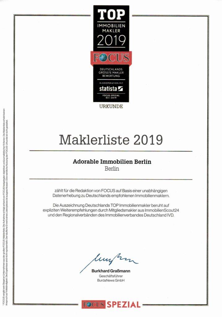 Empfohlene Maklerbüros - Adorable Immobilien ausgezeichnet!