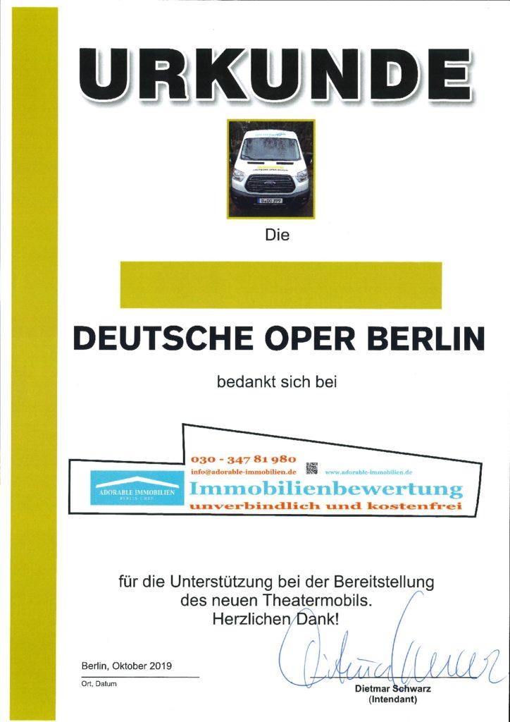 Urkunde Deutsche Oper