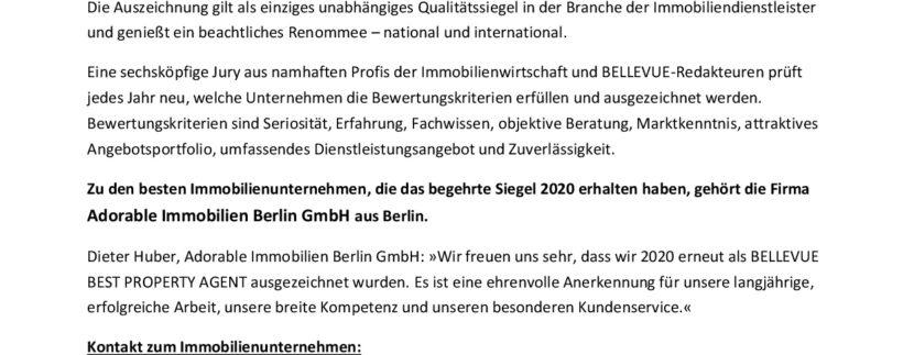 Das Qualitätssiegel in der Immobilienbranche: Adorable Immobilien Berlin GmbH aus Berlin als »BELLEVUE BEST PROPERTY AGENT 2020« ausgezeichnet